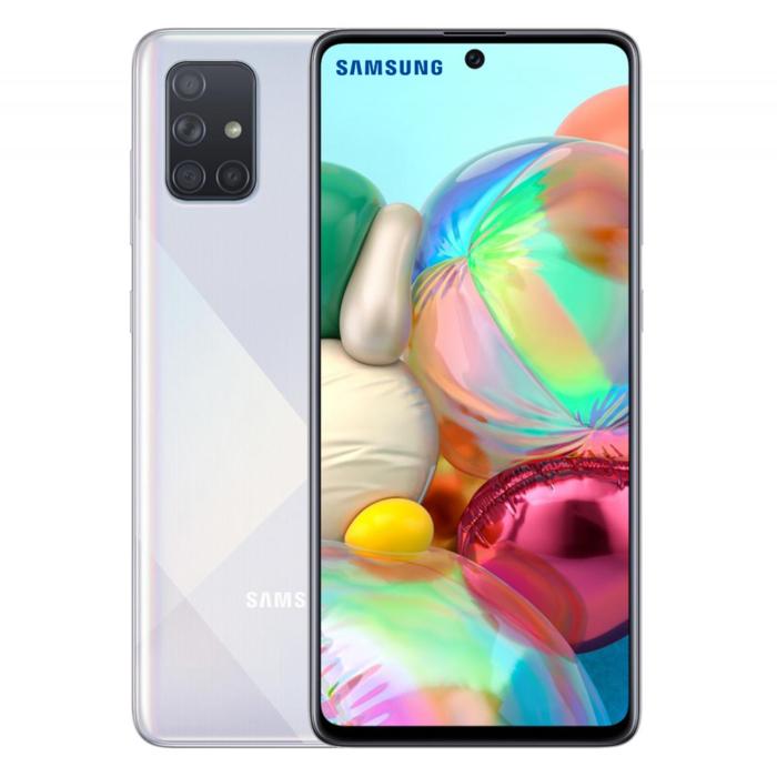 "Samsung A71 LTE plateado 6.7"", 8X Core, CAM 64+12+5+5 MP Trasera, 32 MP frontal, 6GB RAM, 128GB ROM - A71"
